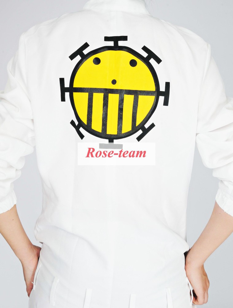 Rose-team Made One Piece Heart Pirates White Uniform Cosplay Costume