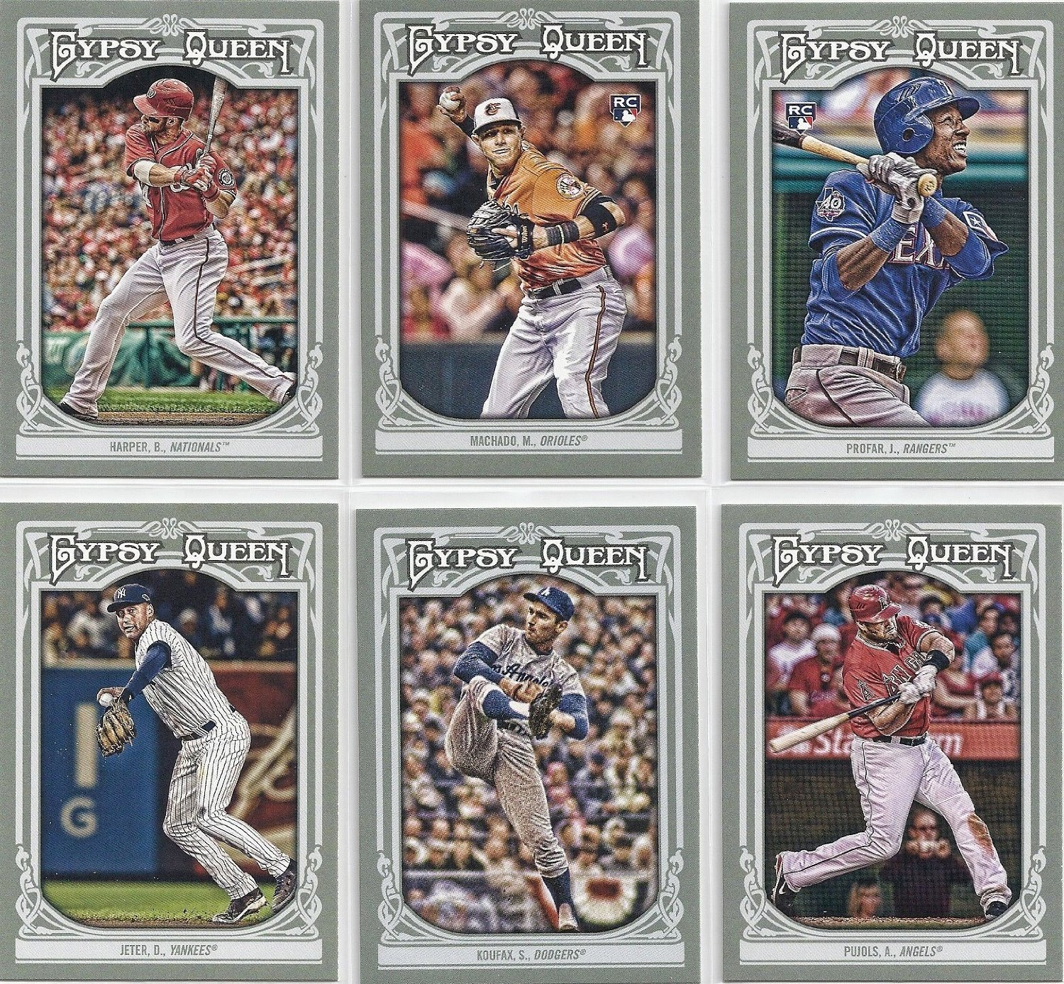 2013 Topps Gypsy Queen Baseball Series Complete Mint Hand Collated Basic 300 Card Set. Loaded with Your Favorite Stars and Tons of Hall of Famers Including Babe Ruth, Sandy Koufax, Jackie Robinson, Ty Cobb, Buster Posey, Tom Seaver, Lou Gehrig, Cal Ripken Jr., Ken Griffey Jr., Derek Jeter, Stephen