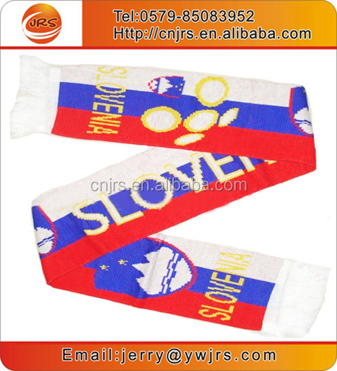 Slovenia national flag scarf plain knit acrylic scarf