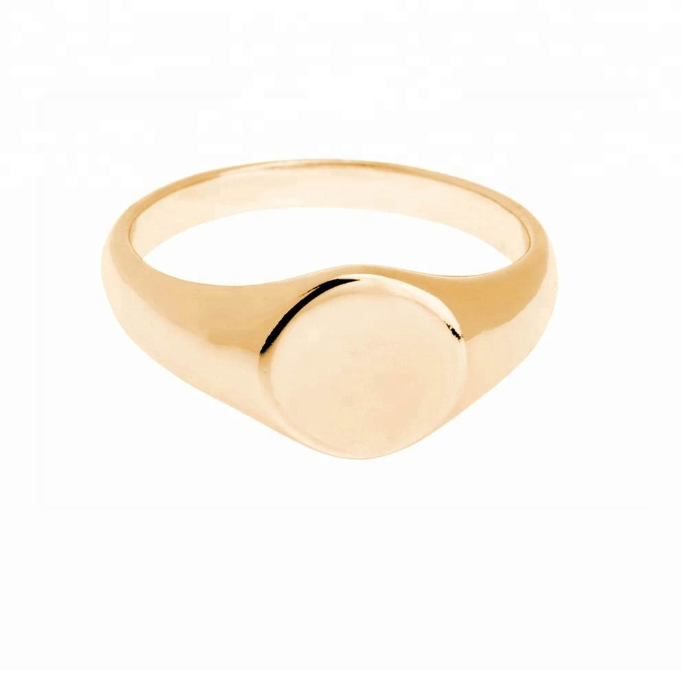 Delicate minimalism jewelry classic signet ring 18K gold 925 sterling plain silver ring