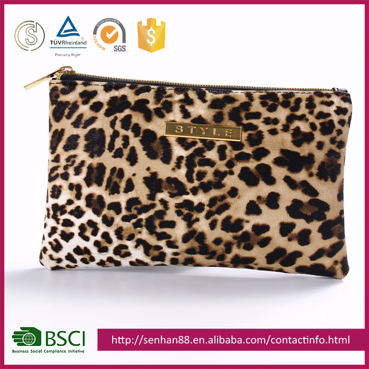 2017 New Low Price Leopard hand makeup bag/Makeup Pouch