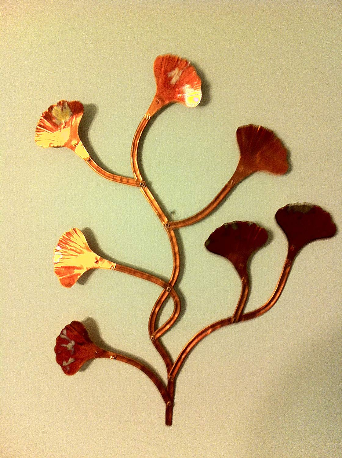 SPECIAL SALE !!!! 30.00 each OR 2 for 40.00!!!! Small Hand Made Copper Ginkgo Wall Hang
