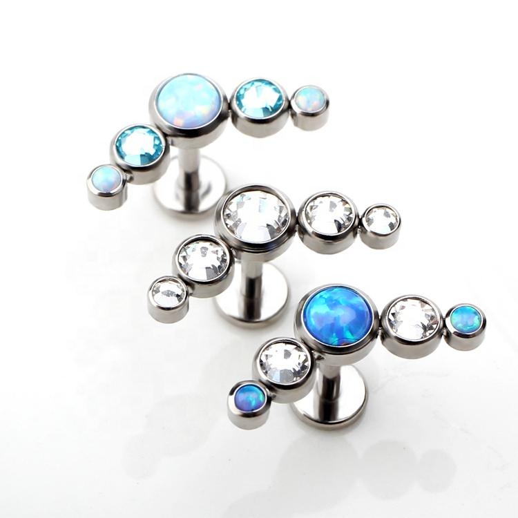 High Polish Titanium Jeweled Labret Monroe Lip Piercing with CZ Gems 16ga 3//8