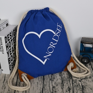 Blue drawstring cotton canvas bag with logo printing