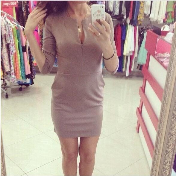 Платье mini половина, женщины сексуальный с v-образным вырезом офис рукав короткая красный с вкладыш