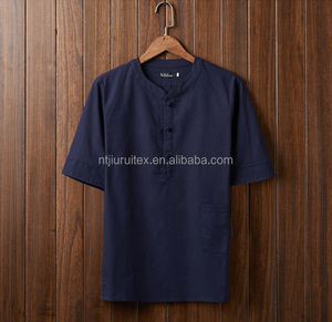 100% linen fabric t shirt for men, polo neck t shirts