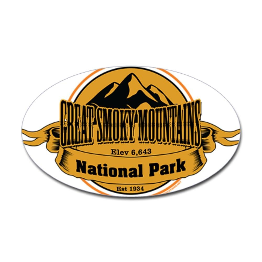 "GSMNP Great Smokey Mountains National Park Brown Oval car bumper sticker 5/"" x 3/"""