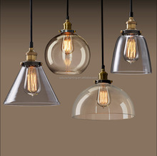 Industrial Vintage Glass Pendant Light lamp shade with copper led bulb E27 holder