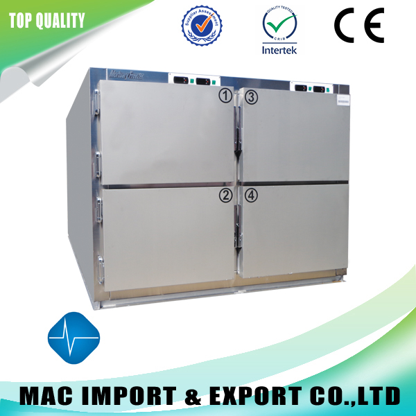 Four bodies morgue refrigerator four doors mortuary chamber cold storage with full stainless steel