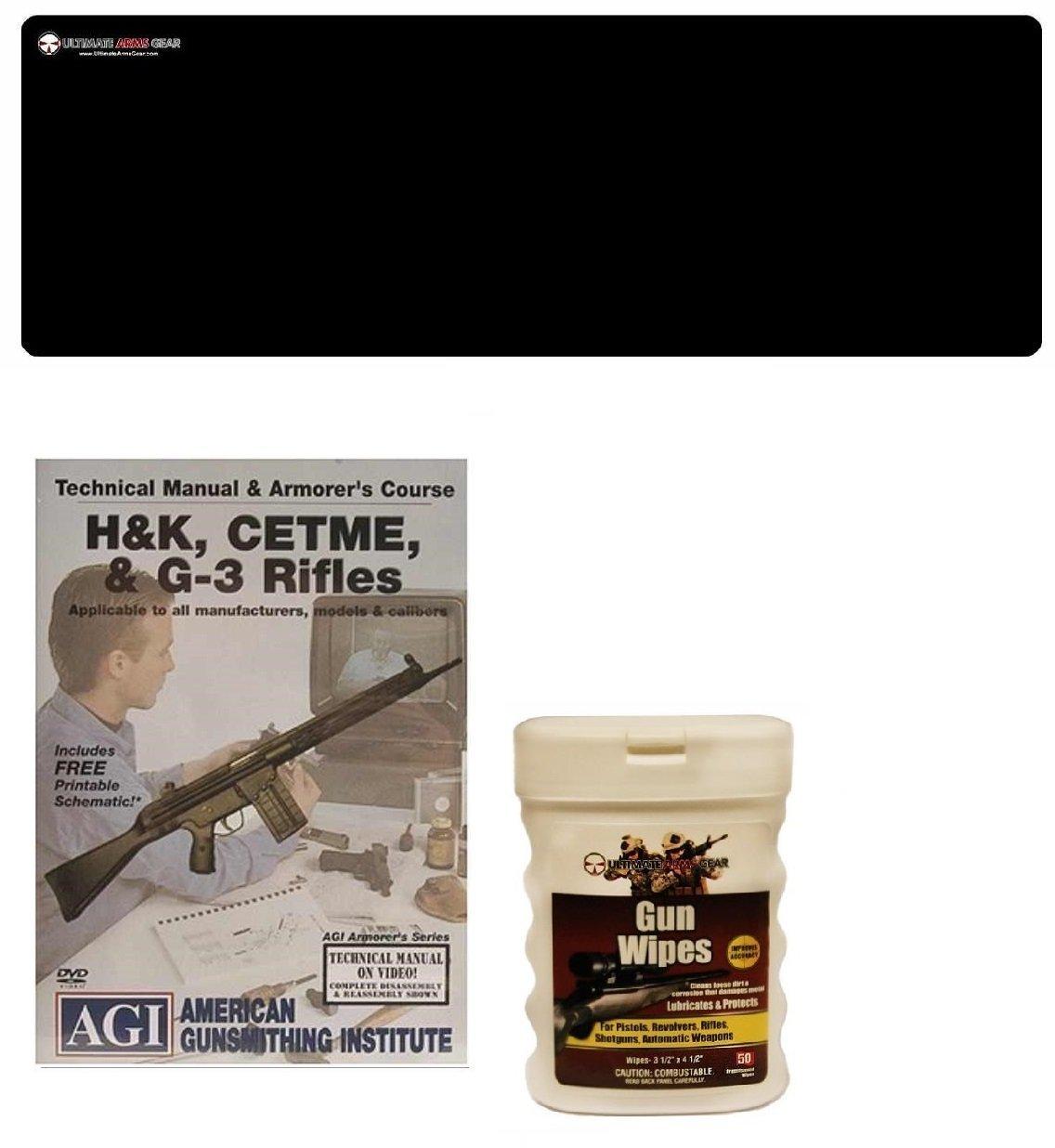 AGI DVD Manual & Armorer's Course HK H&K 91 93 94 MP5 MP-5, CETME & G-3 G3 Rifles + Ultimate Arms Gear Gunsmith & Armorer's Cleaning Bench Gun Mat + Gun Wipes