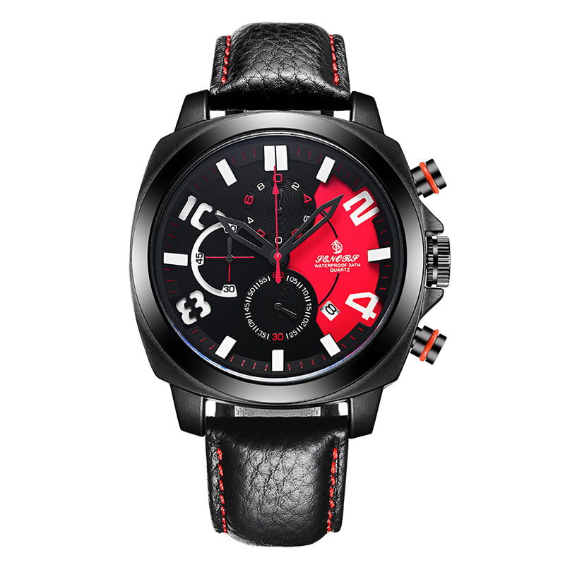 Cool Sport Chronograph Watch with <strong>date</strong> for Business Men with genuine leather