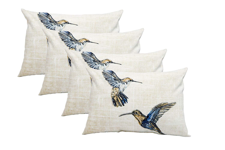 Resort Spa Home Decor Set of 4 Indoor/Outdoor Decorative Lumbar/Rectangle Pillows - Humming Bird Pattern