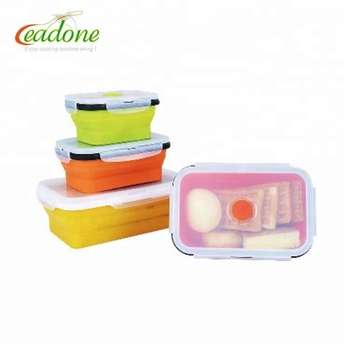 Hot Selling microwave safe BPA FREE silicone foldable lunch box