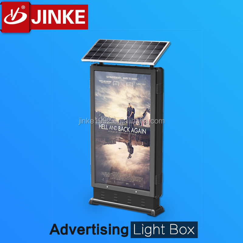 JINKE solar panel outdoor led sign board /two sides mupi light box for advertisement