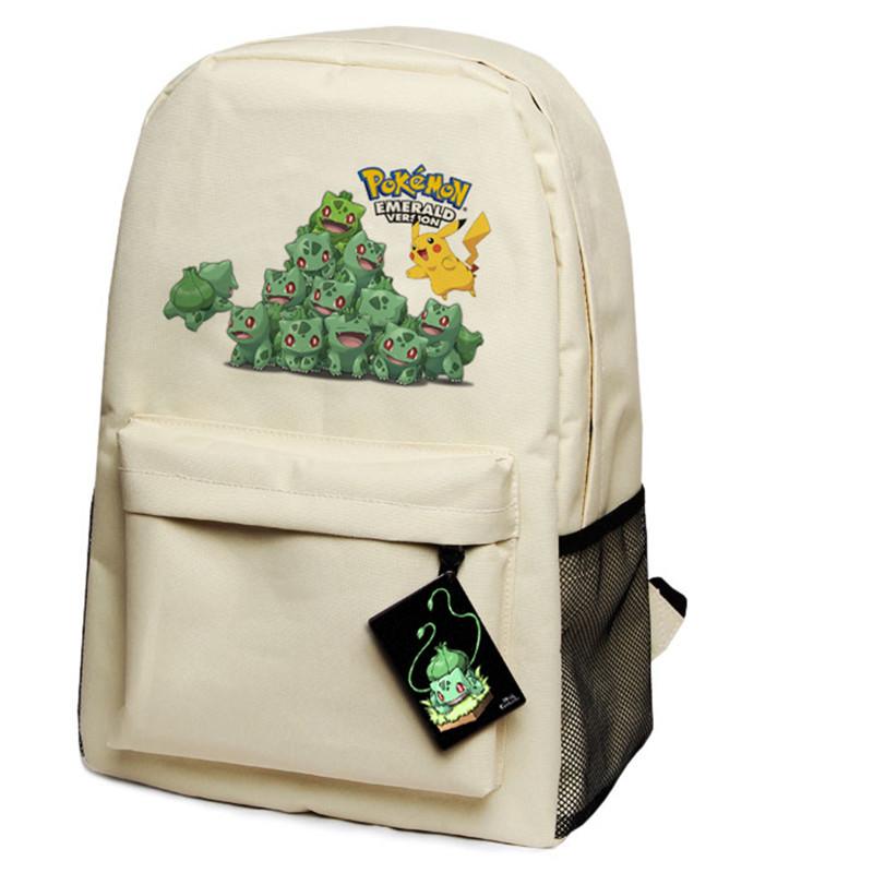 a3725482fe Get Quotations · Anime Pokemon Bulbasaur Pikachu Backpack School Shouder Canvas  Backpack 45cm 29cm 18cm Free Shipping
