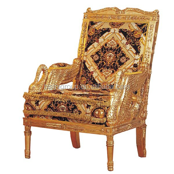 luxury italian style royal golden arm chair with fancy brand