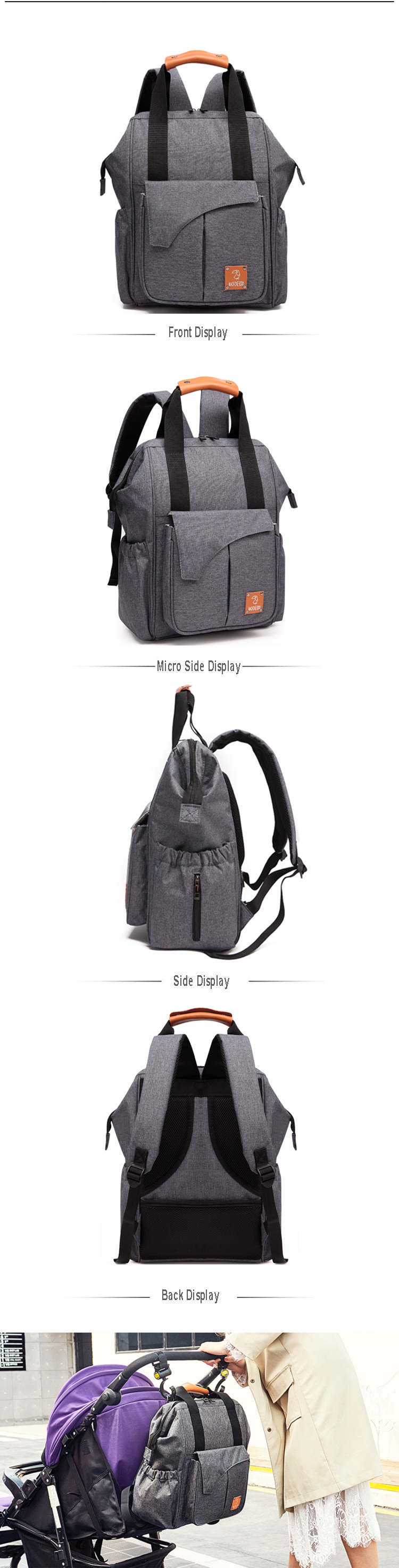 Osgoodway Waterproof Fashion Travel Baby Nappy Changing Bag Diaper Bag Backpack For Mom