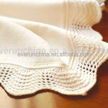 100cotton Plain Knit Baby Blanket With Handmade Crochet Edge