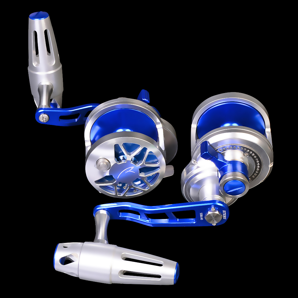 Trolling Reels Aluminum CNC Machined Fishing Reel Max Drag 16kg&19kg Jigging Wheel Hollow-carved Design, Blue