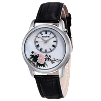 Skone Quartz Flower Leather Watches