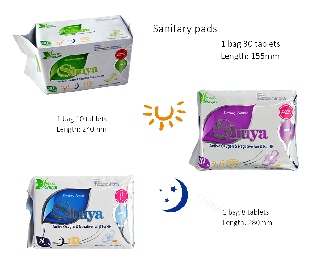 High quality female medical gynecological pad Shuya Anion Sanitary Napkin