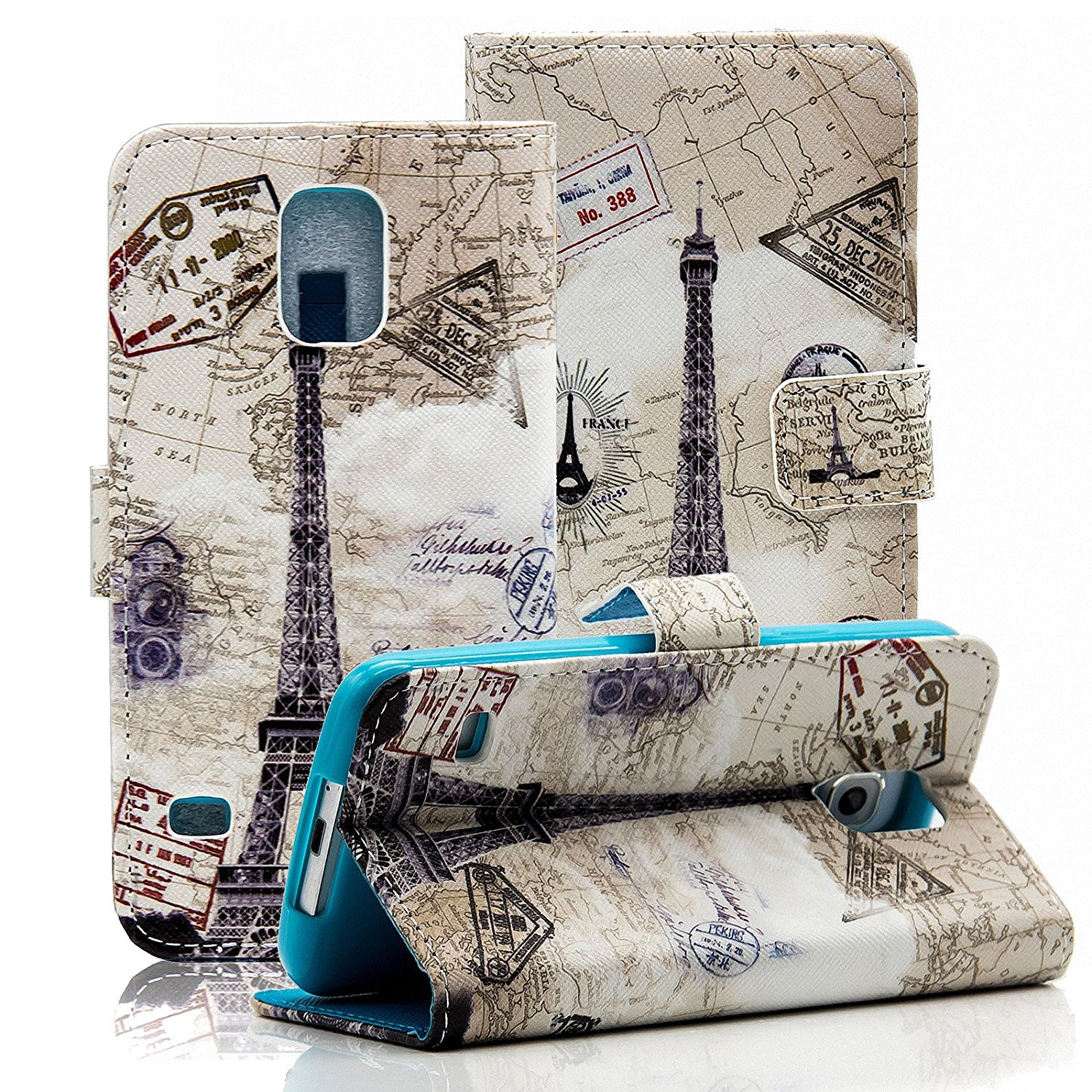 S5 Case, Galaxy S5 Case, Dteck(TM) Colorful Hand-draw Cute Cartoon Pattern PU Leather Flip Stand Magnetic Cover [Credit Card Slots] Wallet Case for Samsung Galaxy S5 i9600 (02 Eiffel Tower)