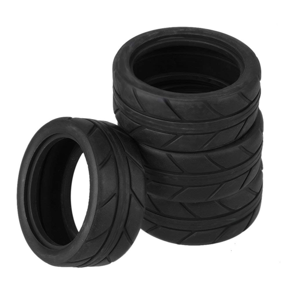 """BQLZR 2.56"""" OD Black RC 1:10 Arrows Pattern Rubber Tyre Tire fit On Road Racing Car Pack of 4"""