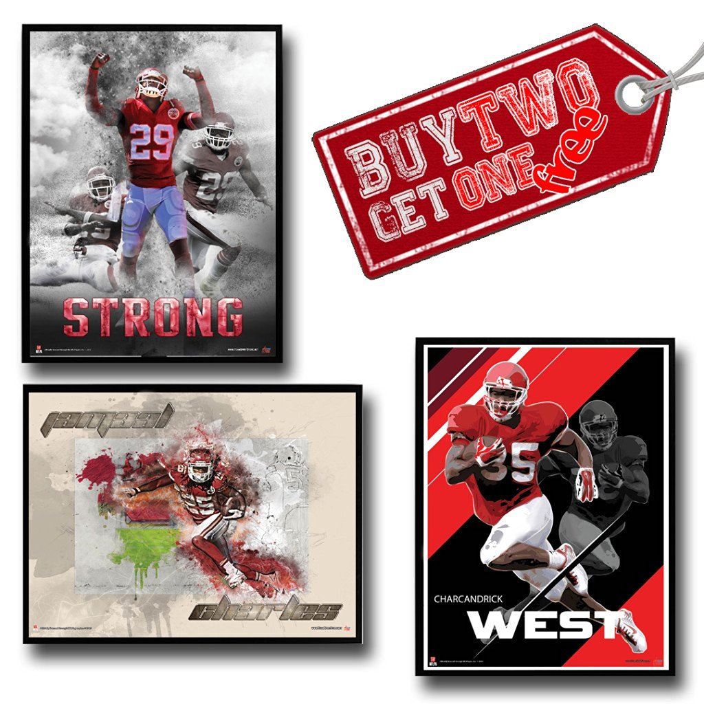 NFL Kansas City Chiefs Jamaal Charles Eric Berry Charcandrick West Buy Two Get One Free Poster Set Authentic Team Spirit Store Product