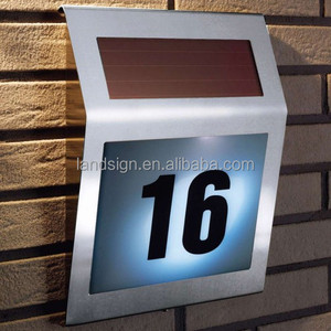 alibaba express china outside solar decoration stainless steel house number lighting