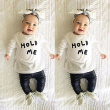Baby Toddler Girls Boy Kids HOLD ME T shirt Tops Blouse PU Leather Pants Outfit