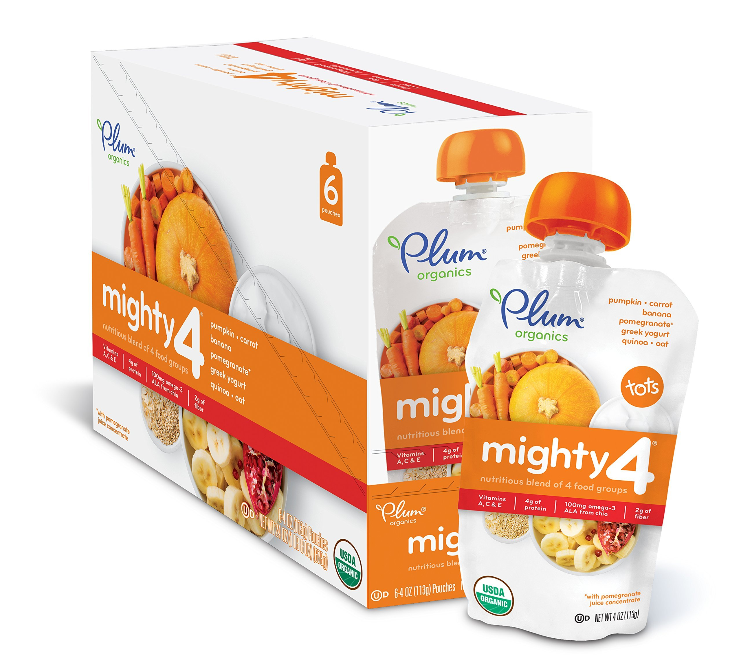 Plum Organics Mighty 4, Organic Toddler Food, Pumpkin, Carrot, Banana, Pomegranate, Greek Yogurt, Quinoa & Oat, 4 oz. pouch (Pack of 12)