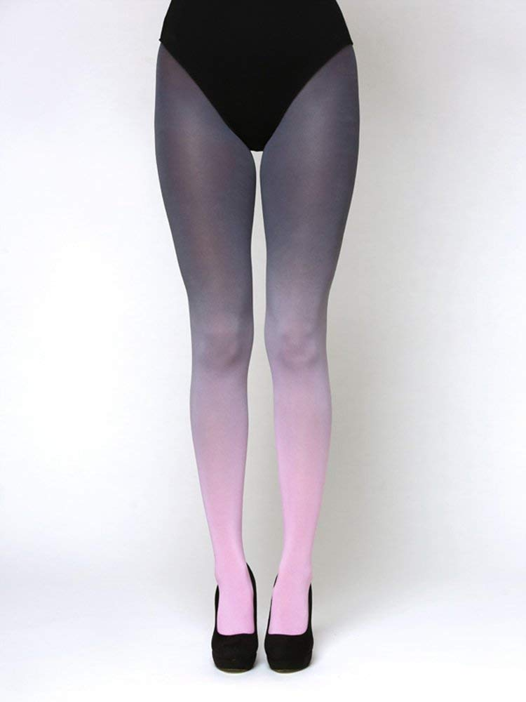 f1bd049ab Get Quotations · Pink - Grey Ombre Tights - Smooth Opaque Microfiber Footed  Leggings - Grey Gradient Pantyhose for