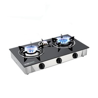 LPG glass cooktop 3 burner gas stove brass+ Infrared