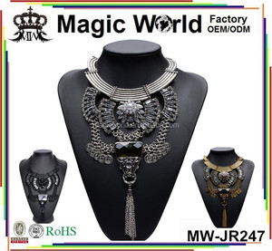 Antique Long Tassels Artificial Pearl Big Stone Statement Necklace For Gorgeous Women Jewelry