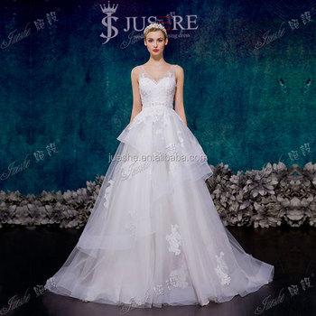 Latest Design Dress Plunge V Neckline Lace Appliqued Tulle Backliess Bridal Wedding Gown