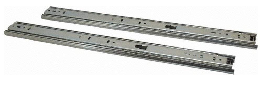 "18"" Slide Length, 18"" Travel Length, Steel Precision Drawer Slide, 1/2"" Wide, 1-13/16"" High, 100 Lb Capacity at Full Extension, Chrome Finish (2 Piece Set)"
