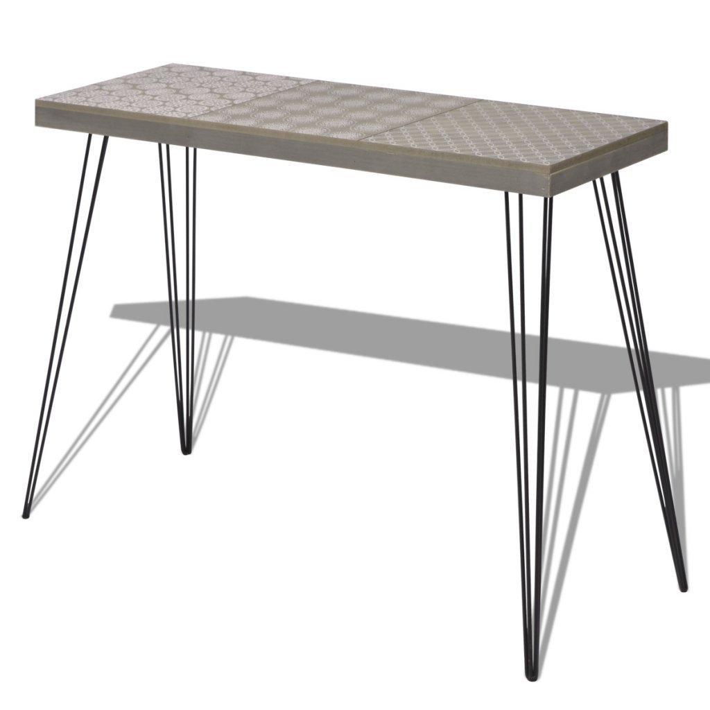 """Festnight Mid Century Console Table with Durable Metal Legs for Home Living Room Decor, 35.4""""x 11.8""""x 28"""", Brown/Grey"""