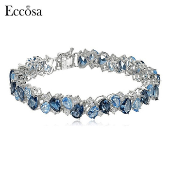 Factory Price Women Dressing Ocean Blue Tennis Bracelet Made With Crystals From Swarovski
