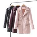 e78000fe42c6 NS4137 European Fashion Women Spring New Design Zipper Leather Coats