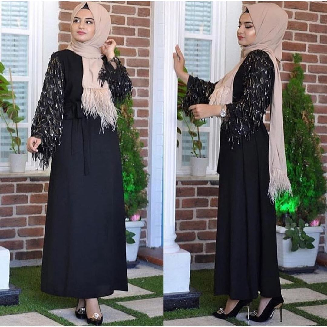 Wholesale 2019 latest new fashion abaya sequin tassels sleeve maxi dress 5 colors and 5 sizes