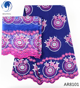 Beautifical swiss fabric with rhinestones 100% cotton korea lace african lace textile AR81