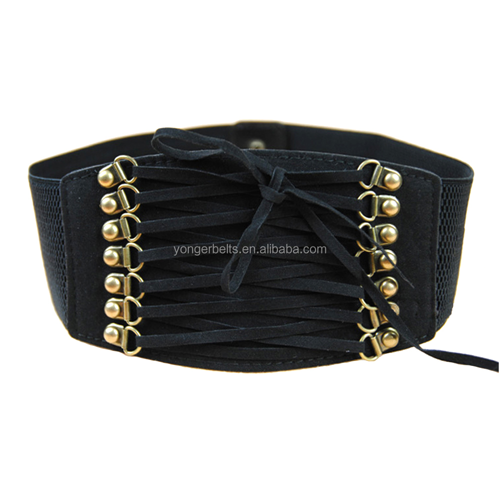 wide elastic corset belt with lacing details