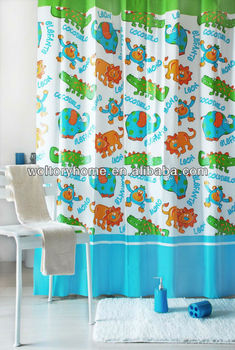 2015 New Style Plastic Pvc Shower Curtains Cartoon Design Eco Friendly Bathroom Curtain Set