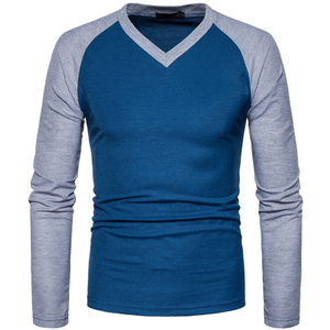 Wholesale top quality Men's spring autumn European size fashion V collar long sleeve T-shirt
