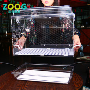 Clear and transparent acrylic bird cage with standing bar