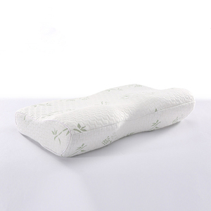 Standard Size Memory Foam Pillow Orthopedic Neck Pillow with Washable Bamboo Pillowcase, White