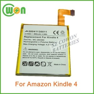 "Replacement 890mAh MC-265360, M11090355152, S2011-001-S, 515-1058-01 Battery for Amazon Kindle 4, 4G D01100 E Ink 6"" eReader"