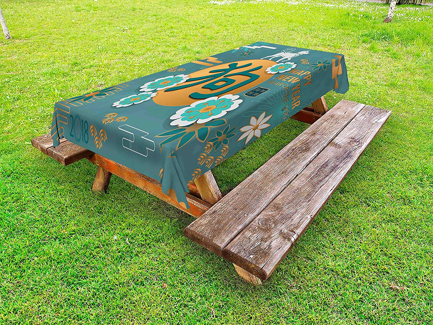 Ambesonne Year of the Dog Outdoor Tablecloth, Lunar Year Illustration with Flowers and Circles Chinese Culture Elements, Decorative Washable Picnic Table Cloth, 58 X 84 Inches, Multicolor