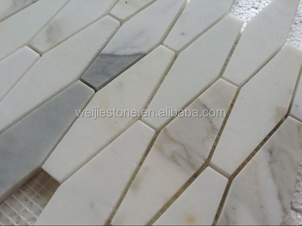 Langwerpige zeshoekige keuken achterwand mozaïek bianco carrara ...