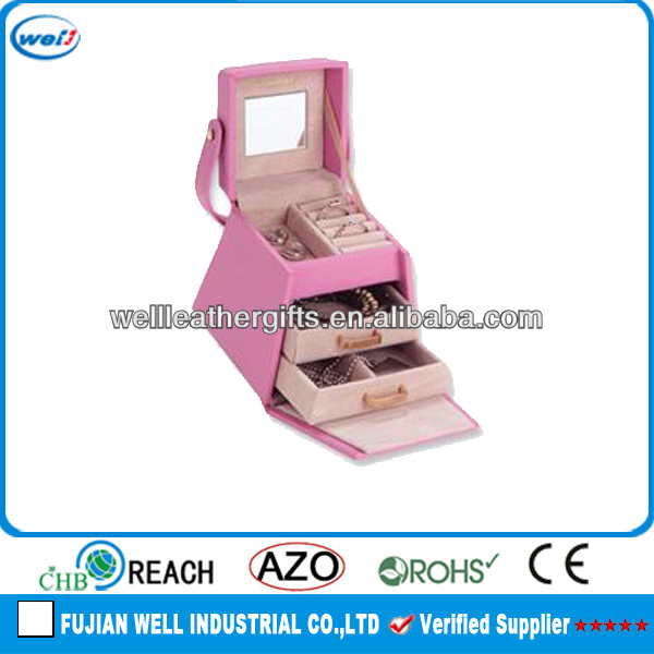 high quality faux leather pyramid jewelry box